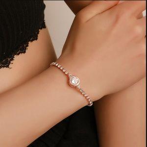 Luxury Round Crystal Gold Tennis Bracelet